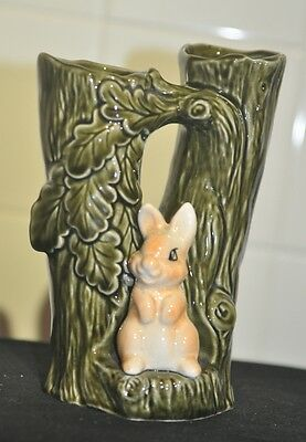 Vintage Sylvac No.4243 rabbit with two tree trunks vase