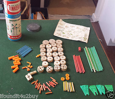 "Vintage ""The Original Tinkertoy"" Building Toy - Approx. 99 pieces w/ Container"