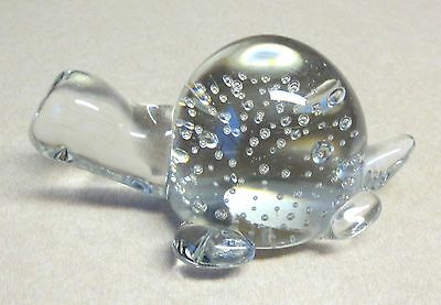 Vintage Clear Glass Turtle Figurine Controlled Bubbles Leonard Silver Label