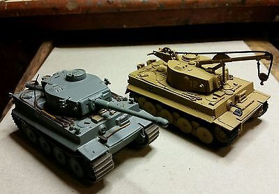 German WWII Tiger 1 & Bergetiger recovery vehicle. Models in 1/72 scale.