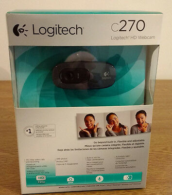 Logitech C270 HD 720p 3MP WebCam USB 2.0 Clip-On Video Calling Calls 1280x720
