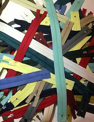 60 x Assorted Closed End Zips (Job Lot, Bundle, Clearance) Free Uk Delivery
