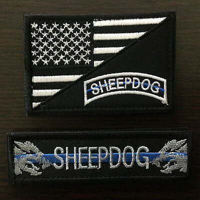 2pcs Sheepdog Military Tactical Morale Hat Patch Thin Blue Line US American Flag