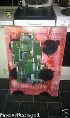 Eduardo paolozzi Signed Large Abstract Oil painting on Canvas