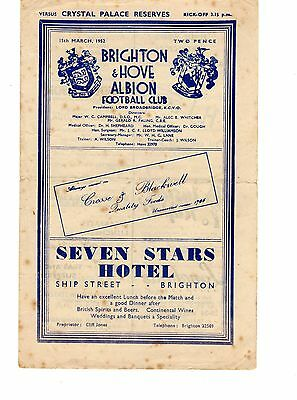 Brighton v Crystal Palace Reserves Programme 13.3.1952 Combination Cup