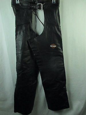 Harley Davidson Women's Black Leather Chaps Large Zipper Snaps