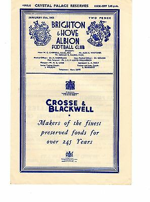 Brighton v Crystal Palace Reserves Programme 17.1.1953 rearranged from 10 Jan