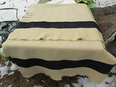 Very Early Vintage Camp Trapper Trade Blanket~Vanilla White W/ Black Stripes 4 P