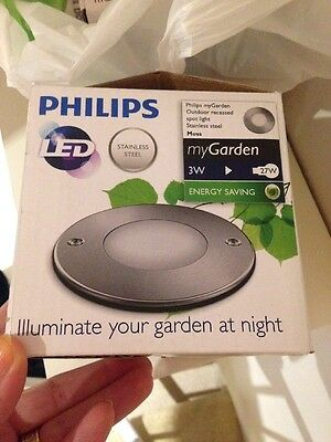 Philips My Garden Outdoor Recessed Spot Light Stainless Steal Moss X3