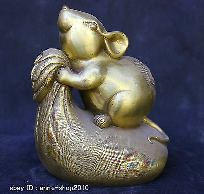 Chinese Folk Old Traditional Culture Brass Bronze statue Lucky Zodiac Mouse Mice