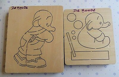 Lovely Set of 2 Wooden Dies by Die Monde - Elephant and Baby - Humphreys Corner