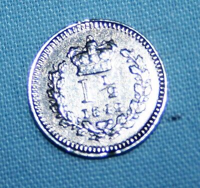 Victorian Three Half Pence Silver Coin - 1842 - Damged - #6