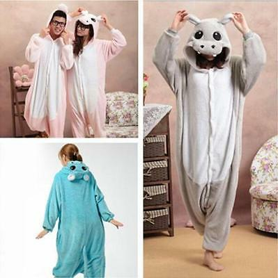 Hot Unisex Adult Kigurumi Pajamas Animal Cosplay Costume Onesie Sleepwear Hippo