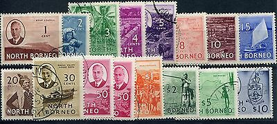 Malaysia North Borneo 1950 SG 356-370 set of 16vals to $10 fine used complete