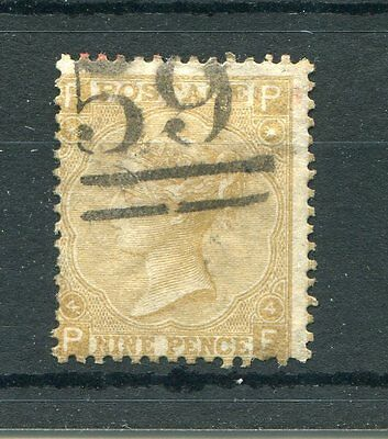 GB QV Surface Printed 1867 SG 110 9d straw sound used