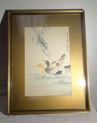 Antique Vintage Japanese Chinese Watercolor Painting Ducks SIgned