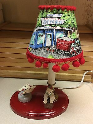 Handcrafted Coca-Cola Tabletop Lamp/Nightlight. Licensed Fabric And Ornaments