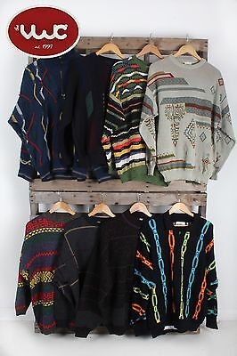 VINTAGE WHOLESALE JOBLOT Crazy Print Cosby Style 80's Sweater Jumper Mix x 25
