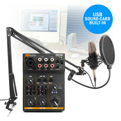 Podcast Desktop Studio Microphone and 3 Channel USB Live Mixer Recording Set