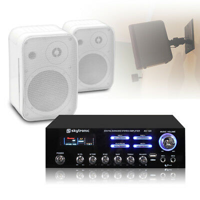 Pair White Control 1 Speakers & Stereo Amplifier USB MP3 Home Stereo Hifi Audio