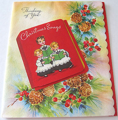 Used Vtg Christmas Card Greenery with Christmas Song Book & Choir Boys