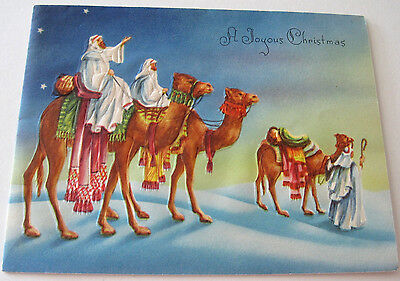Used Vtg Christmas Card Wisemen Magi on Camels Looking to Bethlehem