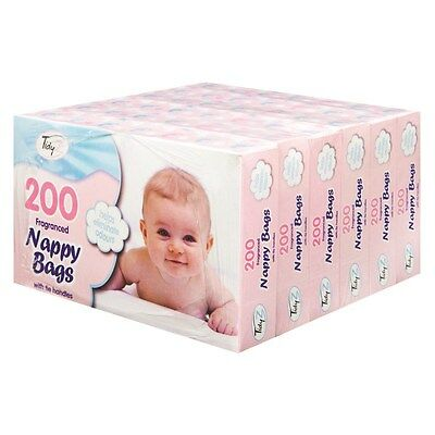 6 BOXES (1200) x BABY SCENTED NAPPY BAGS WITH TIE HANDLES DISPOSABLE SACKS