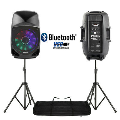 """Pair Active DJ Speakers PA Bluetooth Disco Karaoke Lights 15"""" 350W with Stands"""