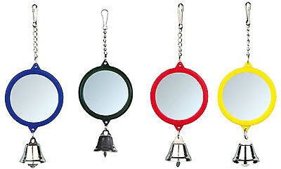 Round Mirror with Bell Budgie Canary Pet Bird Mirror Toy Assorted Colours