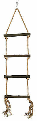Large Natural Rope Ladder with Wooden Rungs Bird Parrot Hanging Ladder Toy 85cm