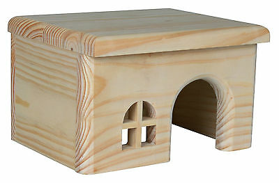 Pine Lodge Wooden House with Flat Roof Hide-Away Home for Hamsters Mice Gerbils