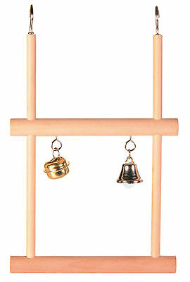Bird Swing Double Wooden Swinging Trapeze Perch with Toy Bells