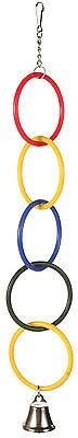 Round Multi-Coloured Rings with Bell Budgie Canary Pet Bird Toy 25cm