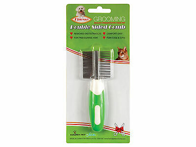 Double Sided Pet Grooming Comb for Dogs & Cats with Fine to Coarse Hair