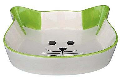 Ceramic Cat Bowl Cat Face Shaped Food Water Dish with Green Ears & Trim 0.25L