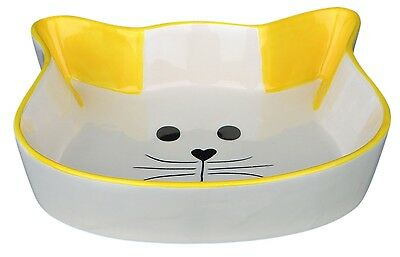 Ceramic Cat Bowl Cat Face Shaped Food Water Dish with Yellow Ears & Trim 0.25L