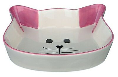 Ceramic Cat Bowl Cat Face Shaped Food Water Dish with Pink Ears & Trim 0.25L