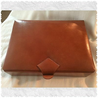 1919 Vintage Antique Pearse Brown Leather Jewelry Lock Box Case