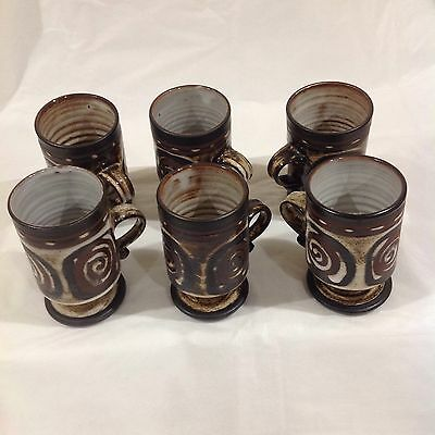 BRIGLIN POTTERY 6 Scroll Pedestal Cups. Stamped BRIGLIN Exc. Condition