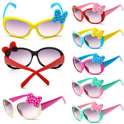 Bow New Goggle Sunglasses Glasses Anti-UV Girls Boys Cartoon Baby Kids 8 Color