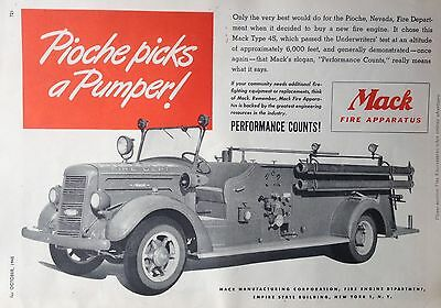 Vintage 1945 Ad(F3)~Mack Truck Fire Engines Type 45