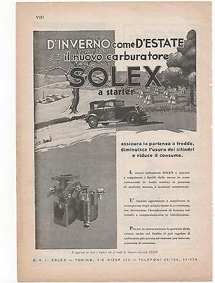 Pubblicità vintage SOLEX carburatore auto old advertising werbung reklame B2