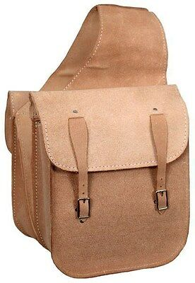 Natural Rough Out Leather Saddle Bags w/ Double Buckle Closure! NEW HORSE TACK