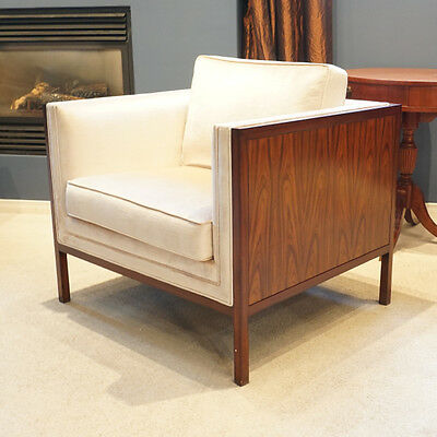 Beautiful Clean Line Mahogany Occasional Fireside Chair with White fabric