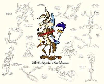 Road Runner Wile E. Coyote Cel MODEL SHEET Rare Number 1 HC Edition cell