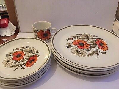 Retro J & G Meakin Poppy 5 X Dinner Plates 6 X Side Plates & 1 Cup Job Lot