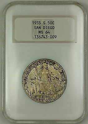 1935-S San Diego Commem Silver Half Dollar Coin NGC Old Holder MS-64 Toned MBG