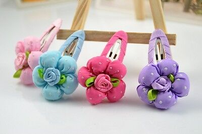 One blue Girl baby boutique flower Hair clips Accessories Kids Hairpin