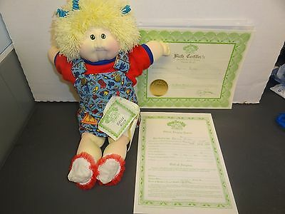 "CPK soft sculpture Cabbage Patch JADE ED 1989 Toddler blonde green 16""  PAPERS"