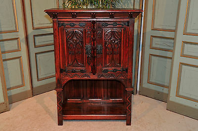 Antique French Gothic Cabinet in Oak  Nicely Carved Linen Fold and Fenestrate